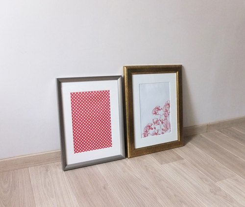Geometric print frame painting (silver frame painting)