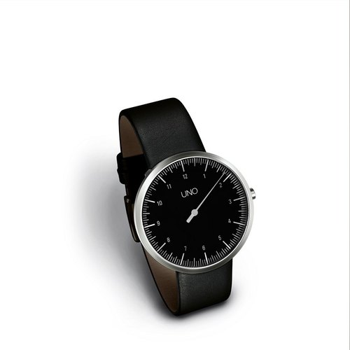 BOTTA design Botha Germany single needle design table UNO series 35mm DIN / iF Design Award / design wristwatch / black face / Sapphire / belt / German table