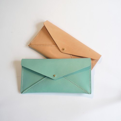 [White two] handmade leather envelope bag long wallet wallet folder colors / blue lake