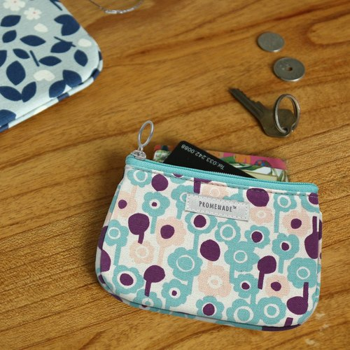 Promenade Forest Walking Cotton Swatch Coin Purse Purse Purple Blue, LWK96421