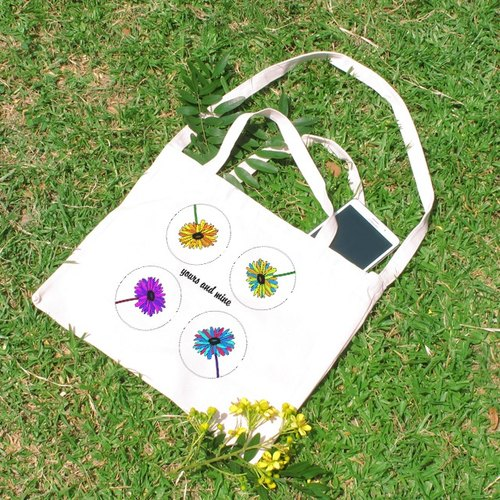 Your flowers my flowers horizontal canvas bag