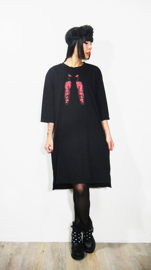 Fairy Farm Factory [FFF] design hand-printed red double peacock pattern cotton T Long Dress