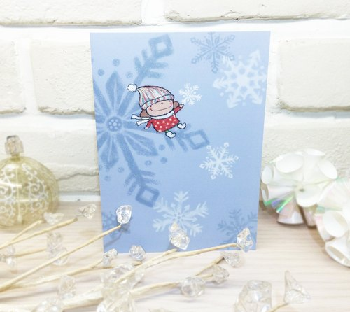 Small mushroom Christmas Card - [winter blessing]