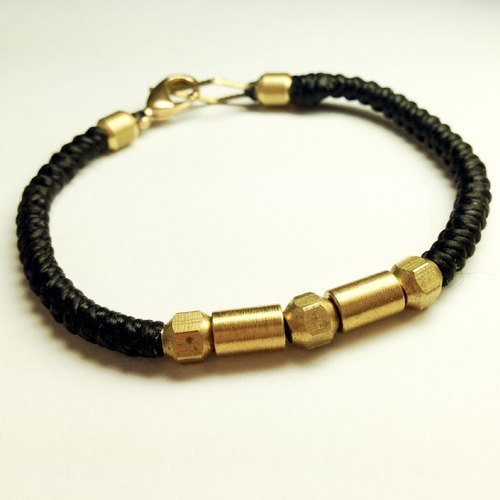 Black Carnival (M's special rough Limited Edition). Simple series ◆ Sugar Nok ◆ hand-knitted wax cord bracelet brass