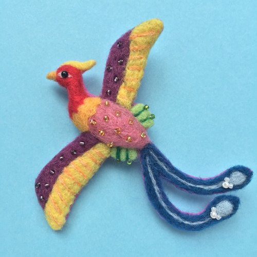 Phoenix - hand-made wool felt brooch