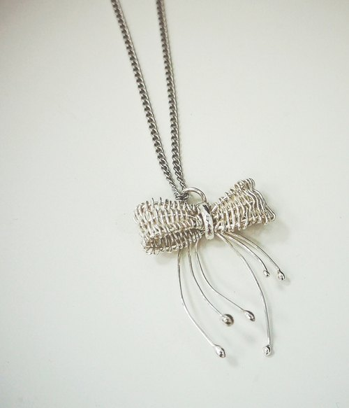 925 silver woven series │ flat knitted necklace - Bow pendant chain attached handmade │