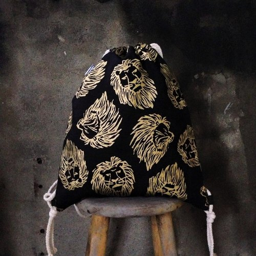 [Beam port bag / Backpack / pouch - Lions printmaking rubbings, double-sided color models]