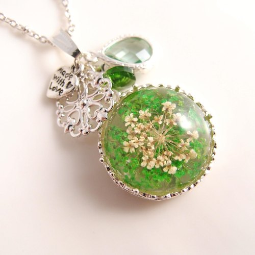 [CN0146] florid forest green natural dried flowers x x x Motif x translucent zircon crystal x-allergenic fade necklace]
