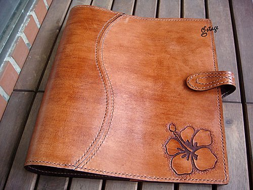 Hand-carved - hibiscus cow leather Handbook 26 holes B5 pages