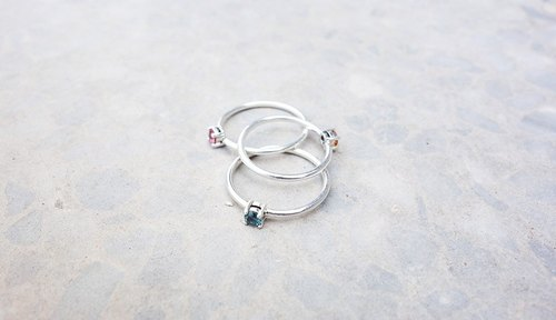 Natural stone series - Tourmaline Silver Ring / free color selection / Silver
