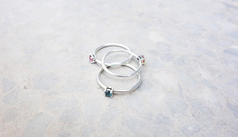 Natural Stone Series - Tourmaline Silver Ring / Free Color Selection / Sterling Silver