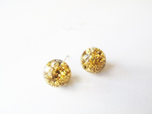 * Rosy Garden * Venus gravel ore debris flowing crystal glass ball earrings