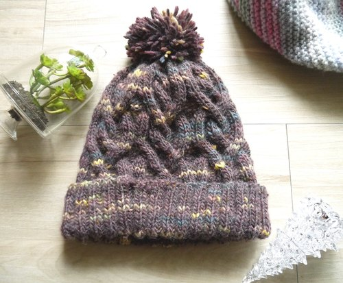 Handmade knit caps - pattern purple caps