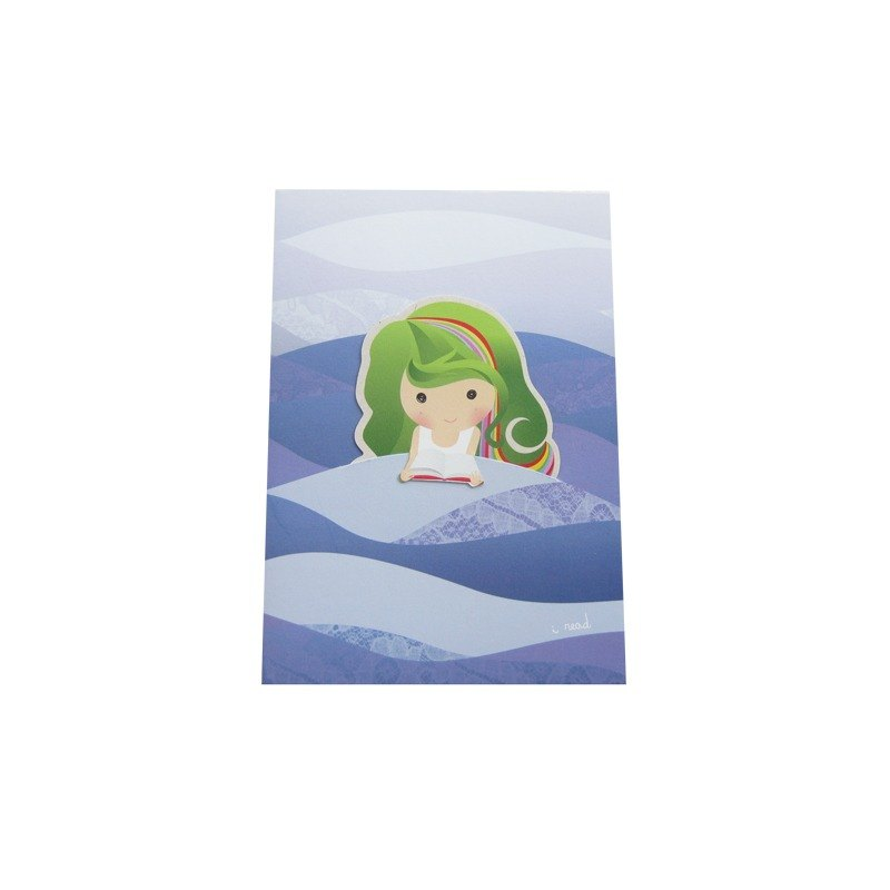 Kueh Lapis Girl Mermaid Card with Bookmark 九层糕女孩美人鱼书签贺卡