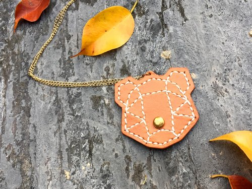 Forests series - Bear Sew leather necklace