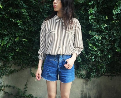 VINTAGE coffee Stripe Shirt