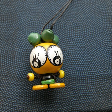 < small travel time > Ob's wooden bead painted doll NO.01