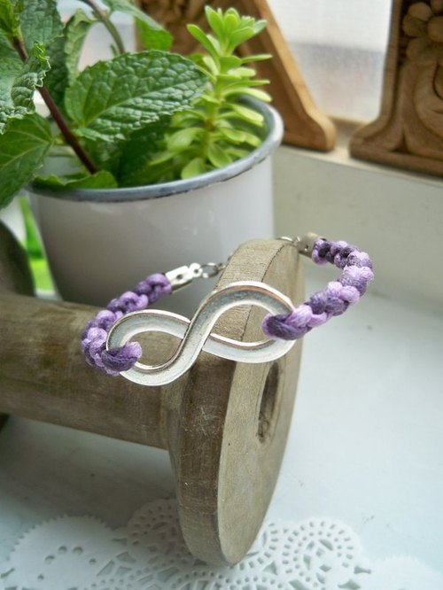 Infinity woven bracelet - purple + purple -1 bar (optional color)