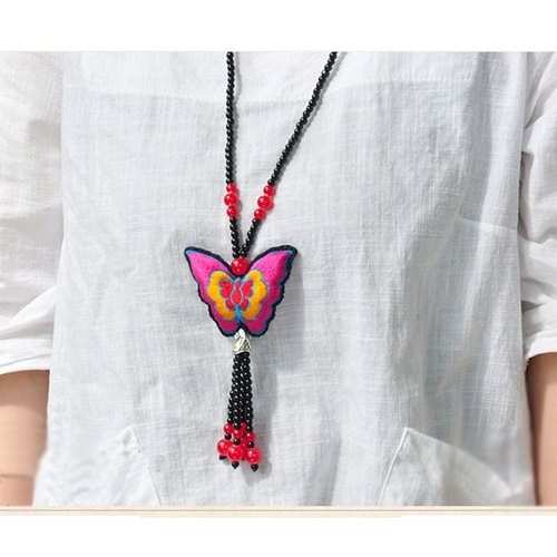 Ethnic hand-tailored double-sided embroidery butterfly necklace sweater 003