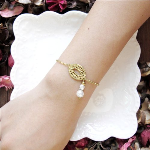 [Orange] MUCHU Mu tears. Brass shell pearl bracelet / wristband