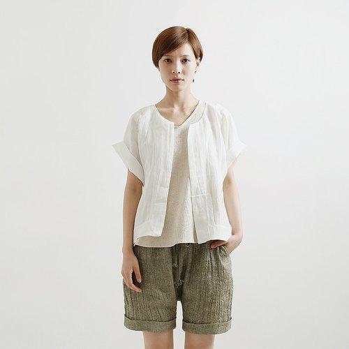 Plain white already loose cotton cardigan