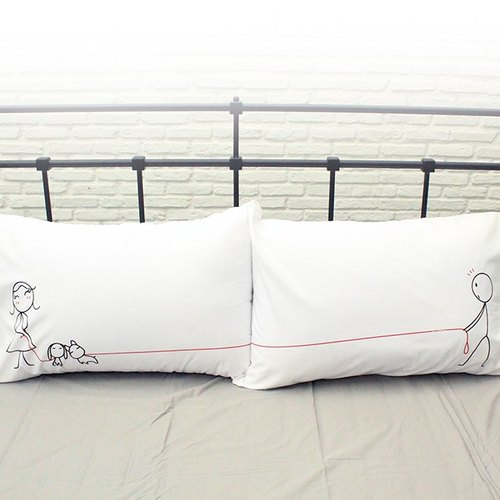 """Puppy Love"" Boy Meets Girl white couple pillowcases by Human Touch"