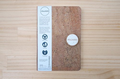 SOWOOD cork Notebook - White (block profile)