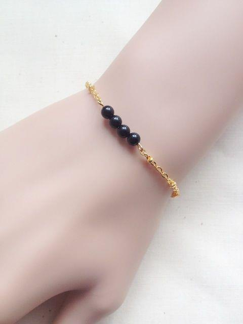 ﹉karbitrary﹉ ▲ ---⊕--- the A grade black onyx dots K gold bracelet