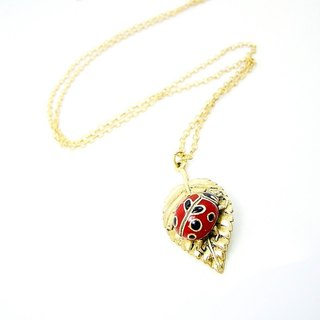 Ladybug on leaf pendant in brass ,Rocker jewelry ,Skull jewelry,Biker jewelry