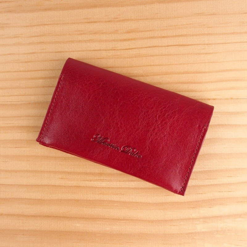 Leather Card Holder Dark Red