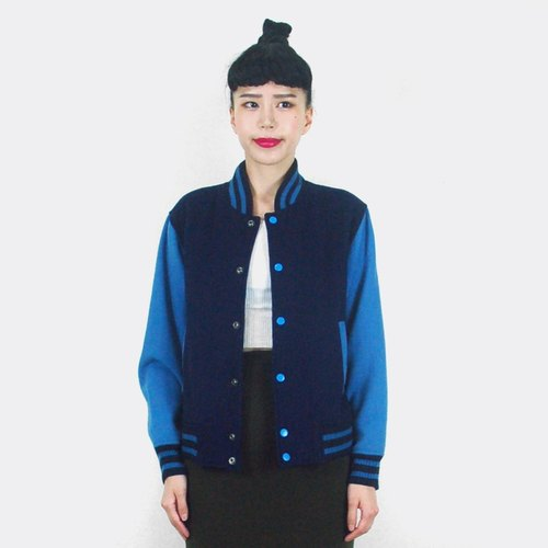 Dark blue color wool baseball jacket AH3015