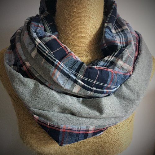 Double-sided cotton circle scarf / neck circumference Circle / Infinity Scarf (blue and gray plaid + gray)