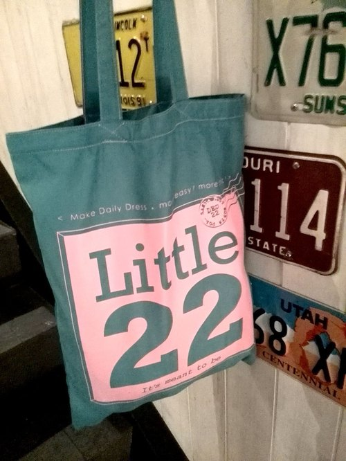 Travel postmark commemorating xLittle22 brand LOGO / suede fabric texture x offset Reagan sugar green bag ♡