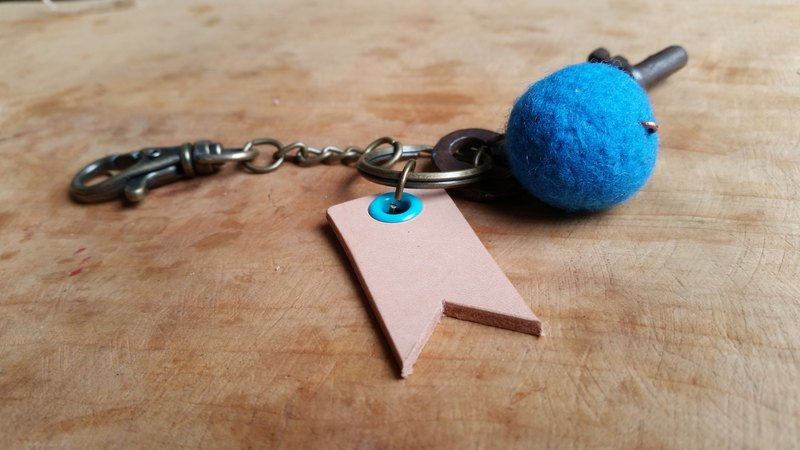 084 leather cowhide - Traveler key ring - can play an English name stamp (blue)