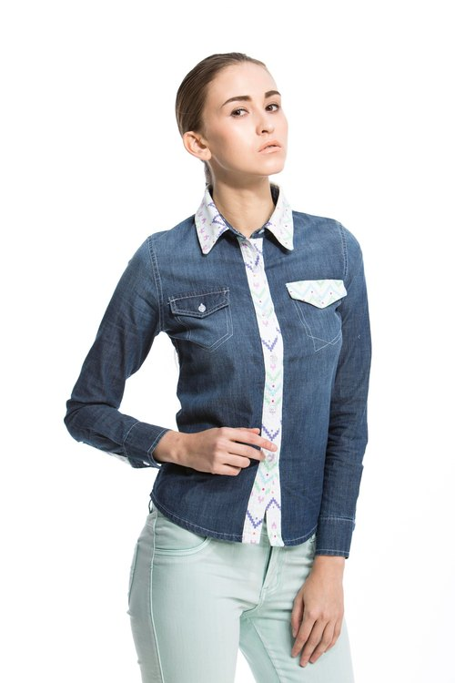 DEF.IT stitching blue denim shirt (blue print) - Geometric jump