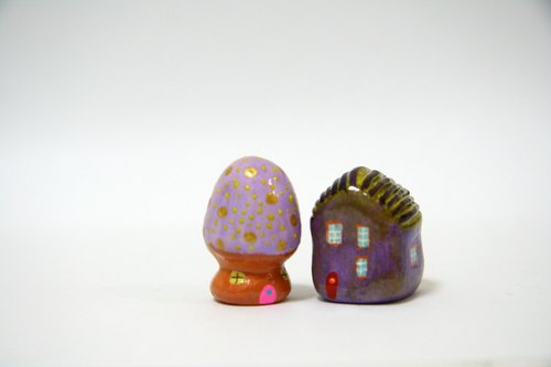Little House Little House - love purple mushroom house / house combination toast purple sky