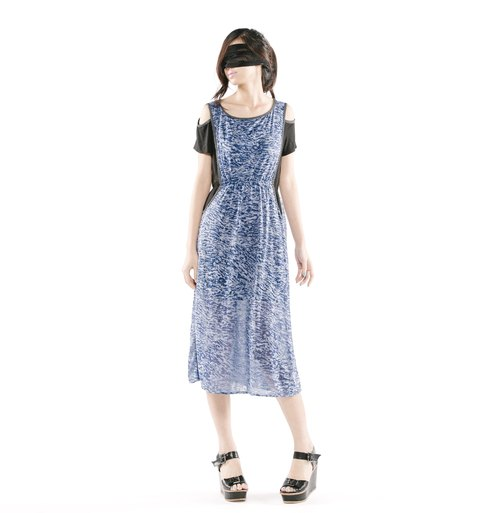 [Dress] false two strapless dress < blue + black / blue dot + gradient color x 2 colors >