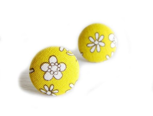 Cloth buckle earrings clip earrings yellow flowers do
