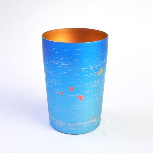 Titanium Love Life Series - Titanium ibises double beer mug (blue) - Niigata Limited models