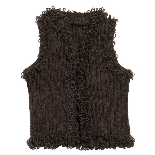 "Earth tree fair trade- ""hand-woven wool Series"" - hand-woven wool hooded vest dark"