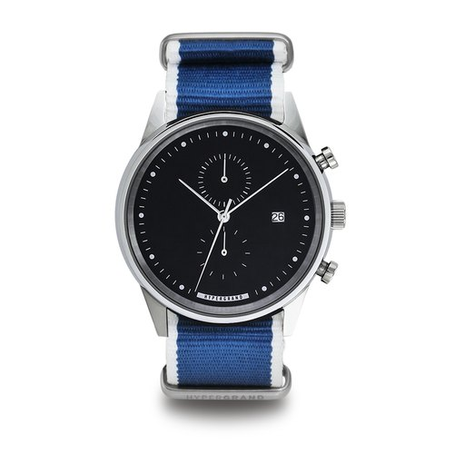 HYPERGRAND - Chrono Silver Black Straight Jacquard Blue Cold Steel Chrono - silver and black dial blue twill Watches