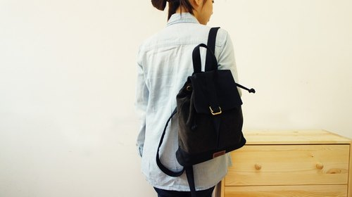 [Happa] a small fresh canvas backpacks - stonewashed canvas classic (Black Coffee Black) packet autumn backpack bag shopping outing go