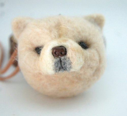 Wool felt brooch necklace puppy