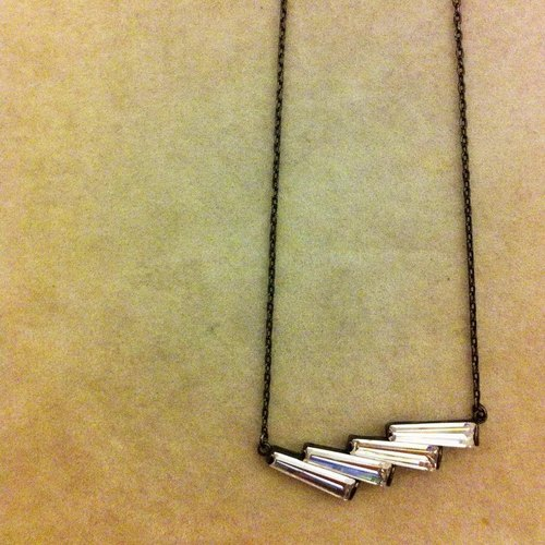 ** DORCUS ** ladder crystal necklace / are minimalist / handmade / black gold