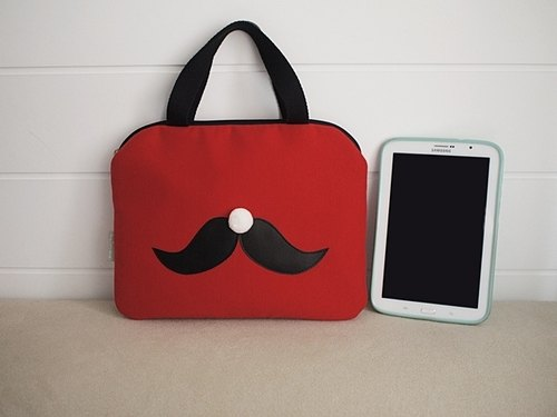 hairmo. Alice Beard mo zipper Tablet Case portable models - red (pull)
