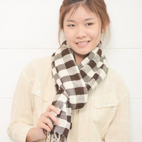 Medium Plaid Scarves Hand Woven and Botanical Dyed Cotton Brown Color