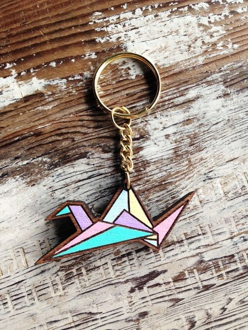 CutFing- wooden series -WOOD cranes keychain