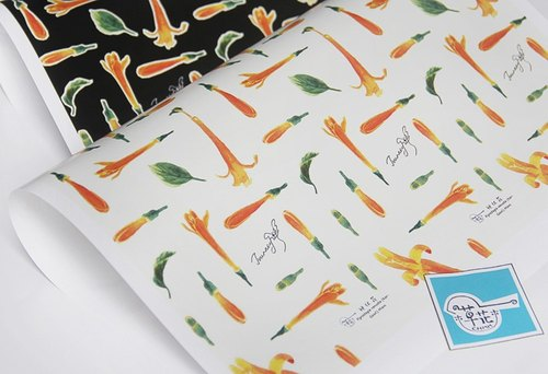 "[Wood] original watercolor painted flower flower plant's ""firecracker flower"" gift wrapping paper bag book"