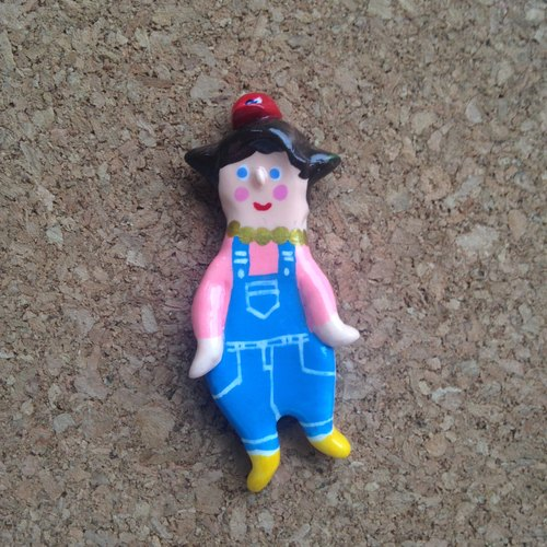 People Tutu-- [big doll red truck cap, blue suspenders, fixed installation is complete! ] Pin