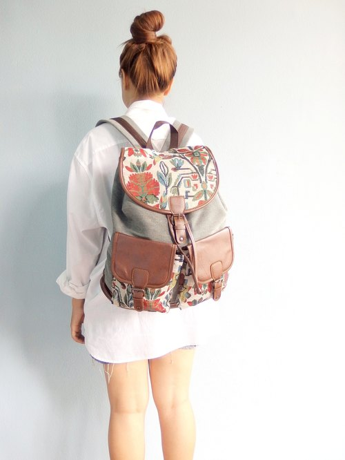 Canvas Gunny Tribal Backpack Boho Abstract Native Design Ethnic Hippie Aztec Gypsy Handwoven Handmade Tapestry Bohemian bag Vintage